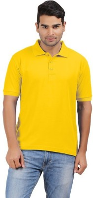 uno cotton Solid Men's Polo Neck Yellow T-Shirt