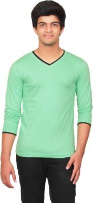 Graceful Self Design Men's V-neck Green T-Shirt