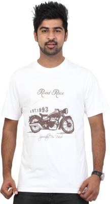 Police Printed Men's Round Neck White T-Shirt