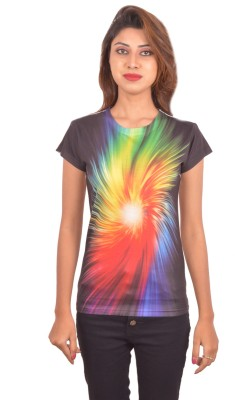 Blueash Graphic Print Women's Round Neck Black T-Shirt