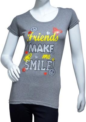 Starsy Printed Women's Round Neck Grey T-Shirt