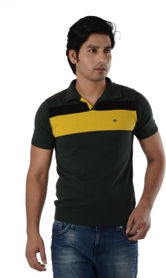 Integriti Solid Men's Polo Neck Green T-Shirt