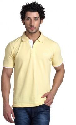 YOO Solid Men's Polo Neck Yellow T-Shirt