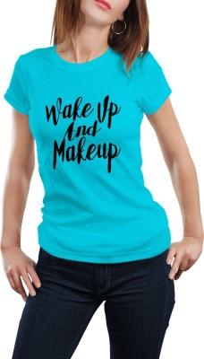 Girlful Printed Women's Round Neck Light Blue T-Shirt