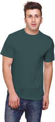 Tripr Solid Mens Round Neck Green T-Shirt