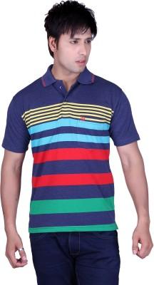 Update Striped Men's Flap Collar Neck Yellow, Multicolor T-Shirt