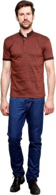 99Hunts Solid Men's Polo Neck Brown T-Shirt