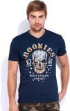 Rookies Printed Men's V-neck Blue T-Shir...