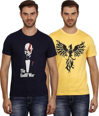 Crush on Craze Printed Men's Round Neck Dark Blue, Yellow T-Shirt