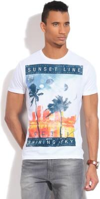 GAS Printed Men's Round Neck White T-Shirt