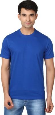 Essentiele Solid Men's Round Neck Blue T-Shirt