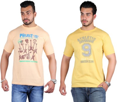 Shineway Printed Men's Round Neck Multicolor T-Shirt