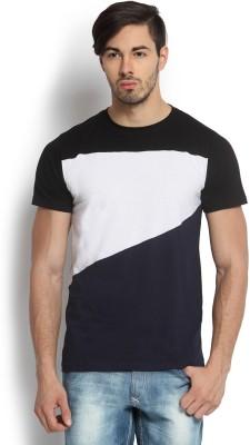 Kingaroo Solid Men's Round Neck Black, White, Blue T-Shirt