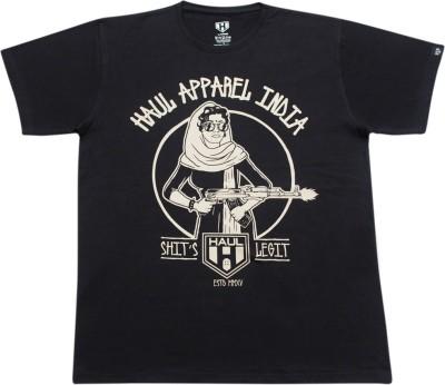 Haul Graphic Print Men's Round Neck Black T-Shirt