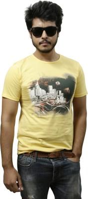 Gypsy Soul Graphic Print Men's Round Neck Yellow T-Shirt