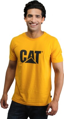 CAT Solid Men's Round Neck Yellow T-Shirt