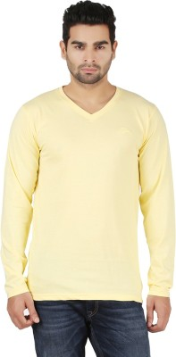 R - Cross Solid Men's V-neck Yellow T-Shirt