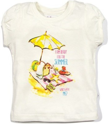 Solittle Graphic Print Baby Girl's Round Neck White T-Shirt