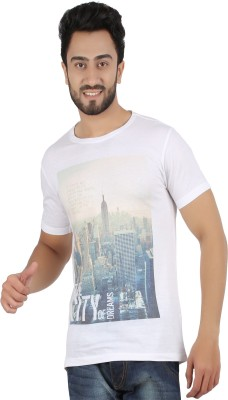 Hoodz Printed Men's Round Neck White T-Shirt
