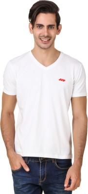 Spunk Solid Men's V-neck White T-Shirt