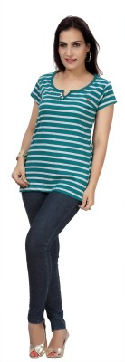 Comix Striped Women's Round Neck Green T-Shirt