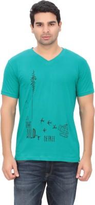 Indian Engineer Printed Men's V-neck Green T-Shirt