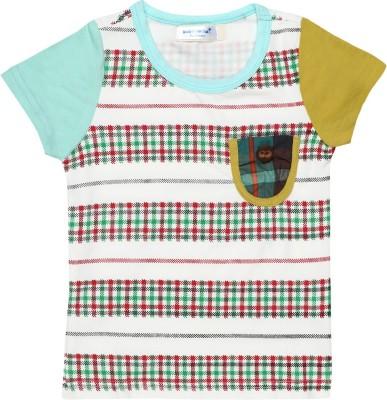 Baby Moshai Printed Baby Boy's Round Neck White, Blue T-Shirt