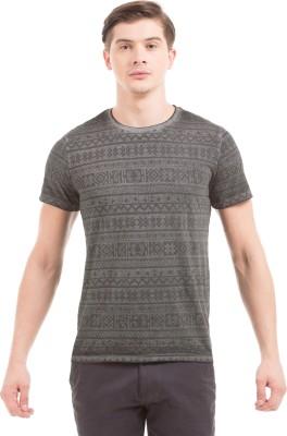 Shuffle Printed Men's Round Neck Grey T-Shirt