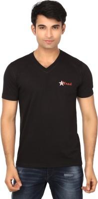 Strak Solid Men's V-neck Black T-Shirt