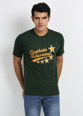 Merlin Printed Men's Round Neck Dark Green T-Shirt