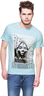 Zovi Printed Men's Round Neck Blue T-Shirt
