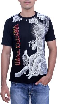 FashionSeva Printed Men's Round Neck Black T-Shirt