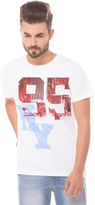 Prym Printed Men's Round Neck White T-Shirt