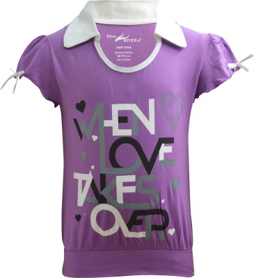 Blueriver Graphic Print Girl's Polo Neck T-Shirt