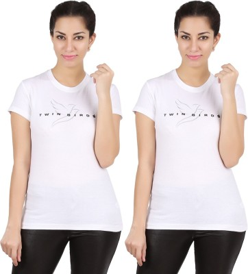 Twin Birds Printed Women's Round Neck White T-Shirt