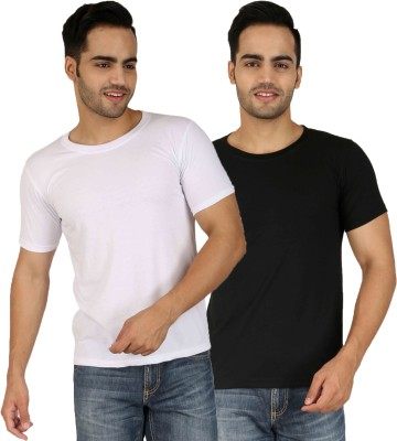 Faded Finch Solid Men's Round Neck White, Black T-Shirt