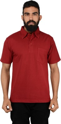 NeoGarments Solid Men's Polo Neck Red T-Shirt