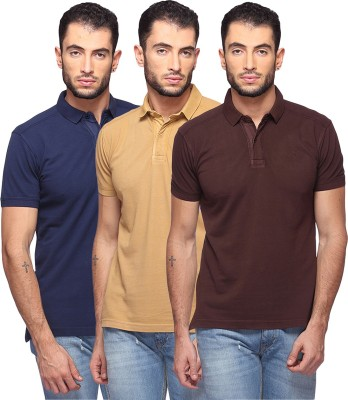 GOAT Solid Men's Polo Neck Dark Blue, Beige, Brown T-Shirt