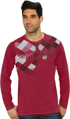 HD Hunter Douglas Solid Men's Henley Maroon T-Shirt