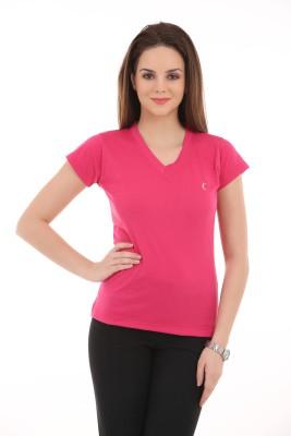 Ultrafit Solid Women's V-neck Pink T-Shirt