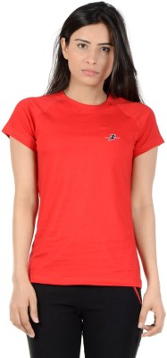 S9 Women Solid Women's Round Neck Red T-Shirt