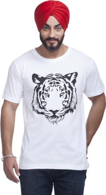 Nihaal Printed Men,s Round Neck White T-Shirt