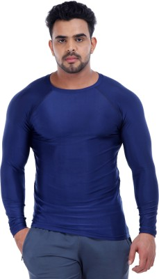 Addicted Solid Men's Round Neck Blue T-Shirt