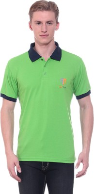 Ted Smith Solid Men's Polo Neck Light Green T-Shirt