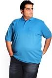 XMEX Solid Men's Polo Neck Light Blue T-...