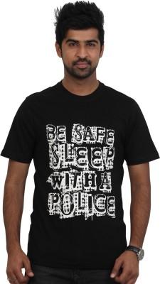Police Printed Men's Round Neck Black T-Shirt