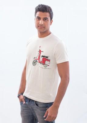 Punjabi Heritage Printed Men,s Round Neck White T-Shirt