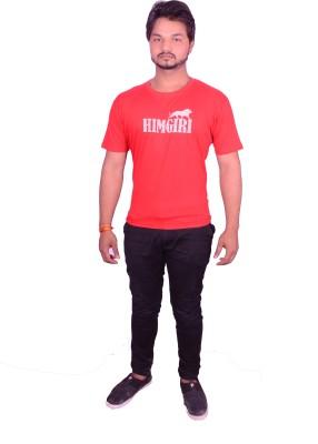 HIMGIRI Printed Men's Round Neck Red T-Shirt