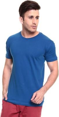 Lowcha Solid Men's Round Neck Blue T-Shirt