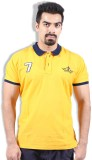 Goswhit Solid Men's Polo Neck Yellow T-S...